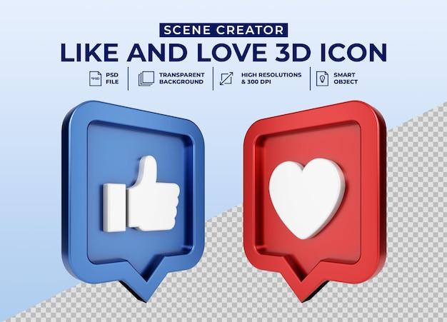 Emblema de ícone de botão 3d minimalista nas redes sociais like and love