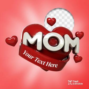 Emblema de mídia social love mom