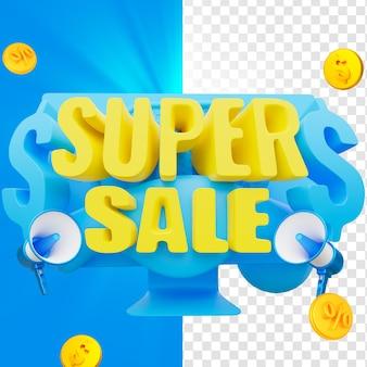 Emblema de super venda 3d