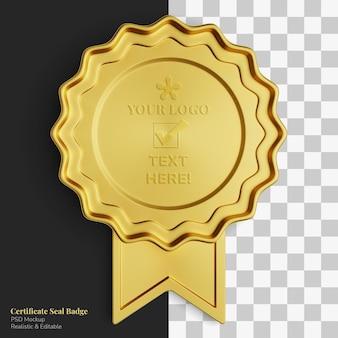 Emblema realístico elegante e exclusivo certificado de selo de ouro real