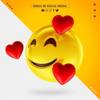 Emoji 3d cheio de amor pelas mídias sociais