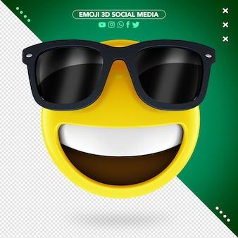 Emoji 3d com óculos de sol e um sorriso alegre