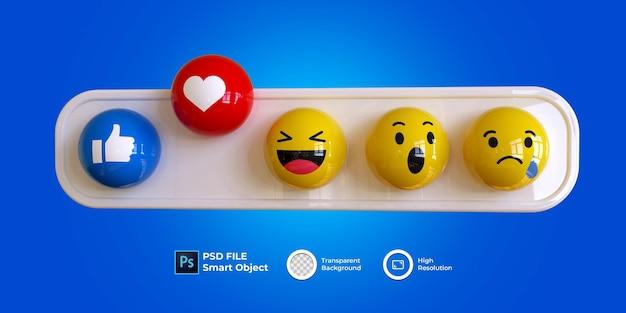 Emoji 3d definido mídia social isolada