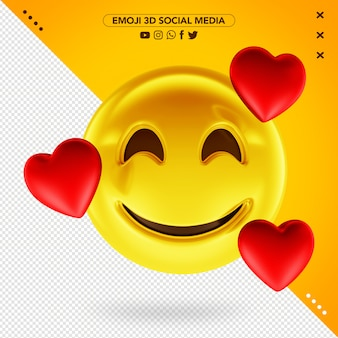 Emoji 3d muito apaixonado com corações 3d ao redor