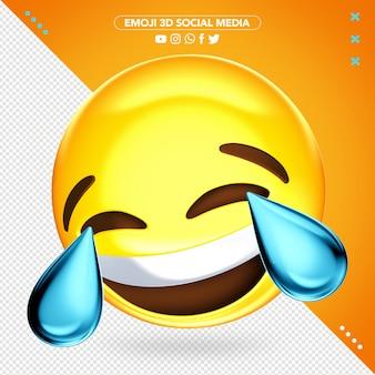 Emoji 3d super alegre chorando enquanto ri de maquete