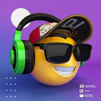 Emoji amarelo com óculos e fones de ouvido