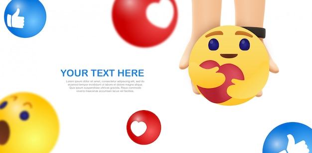 Emoji care - mãos seguram o emoticon amarelo do facebook
