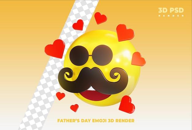 Emoji de dia dos pais com crachá de ícone de renderização 3d amor isolado