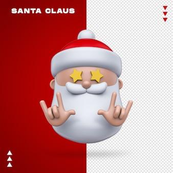 Emoji de papai noel em renderização 3d