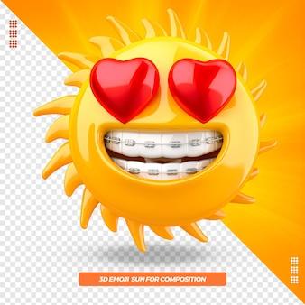 Emoji de sol 3d com coração e dispositivo odontológico isolado isolado