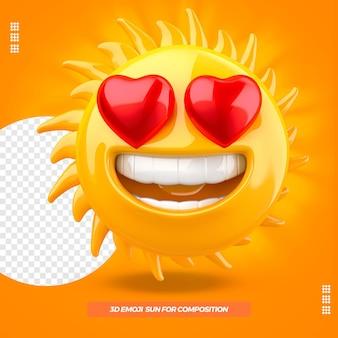 Emoji de sol 3d com coração e isolado