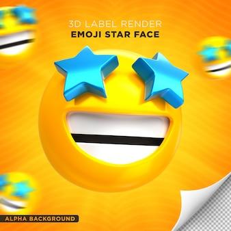 Emoji face estrela 3d render