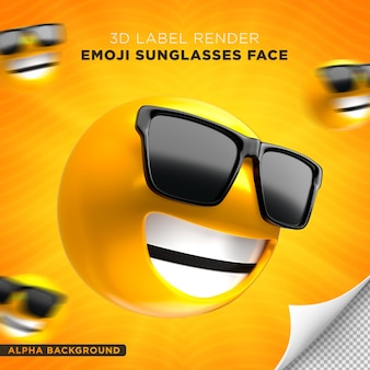 Emoji face óculos de sol 3d render