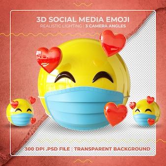 Emoji mascarado 3d apaixonado