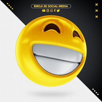 Emoji mídias sociais 3d sorriso alegre para composição