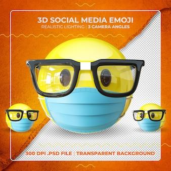 Emoji nerd mascarado em 3d com óculos