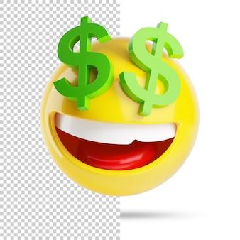 Emoji rico com dólares, 3d