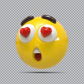 Emoji wow olhos adoram renderização 3d