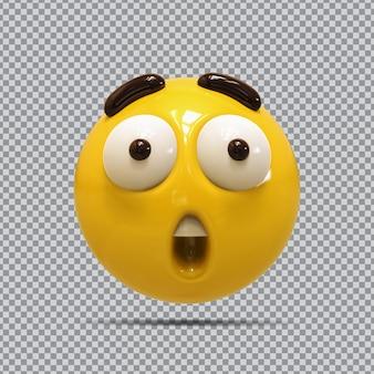 Emoji wow renderização em 3d