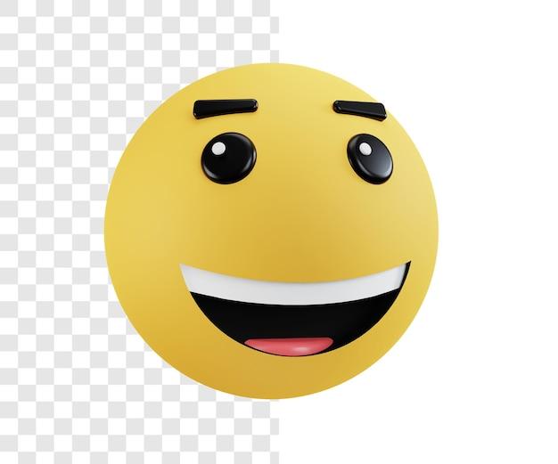 Emojis de conceito de ilustração 3d com expressões alegres ou risonhas