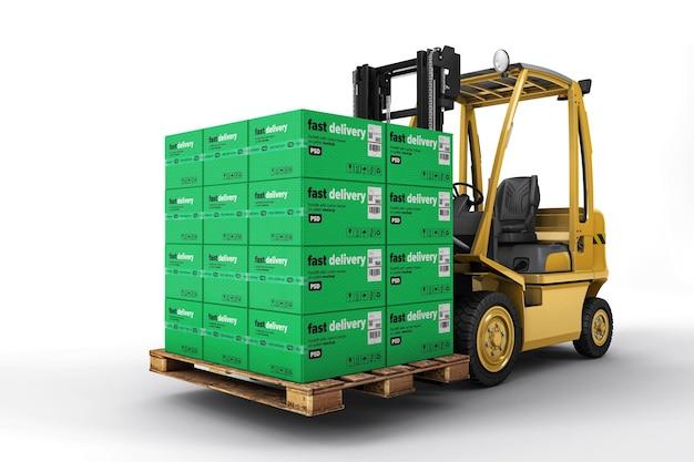Empilhadeira com maquete de caixas