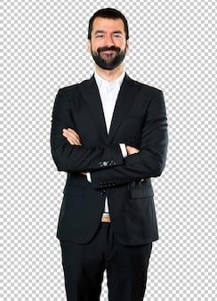 Empresário bonito com os braços cruzados