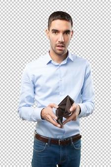 Empresário chocado sem dinheiro