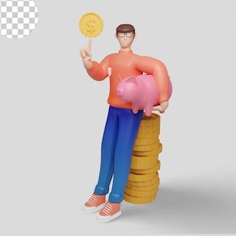 Empresário com grande cifrão ilustração 3d