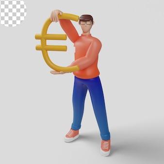 Empresário com grande símbolo do euro. ilustração 3d