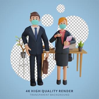 Empresário e mulher de negócios usando uma máscara pronta para o trabalho personagem ilustração renderização em 3d