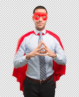 Empresário super pensativo, fazendo um gesto de concentração