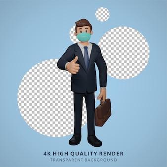 Empresário usando máscara e dando polegares para cima pose personagem ilustração renderização em 3d