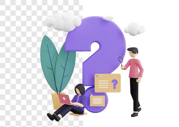 Empresários fazendo perguntas conceito ilustração 3d