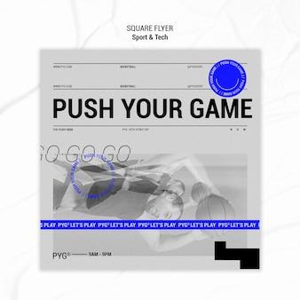 Empurre seu panfleto quadrado de jogo