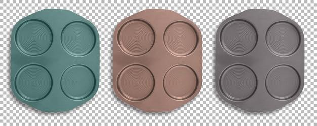 Encha a vista de moldes de torta coloridos isolados com transparência.