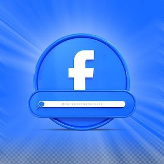 Encontre-me na mídia social do facebook banner ícone perfil renderização 3d terço inferior