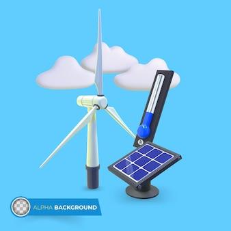 Energias verdes para reduzir as mudanças climáticas. ilustração 3d