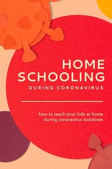 Ensino doméstico durante a pandemia de coronavírus maquete de modelo social