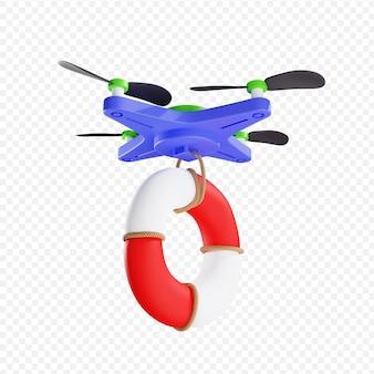 Entrega 3d de bóia salva-vidas por drone tecnologias modernas criptomoeda ilustração 3d isolada