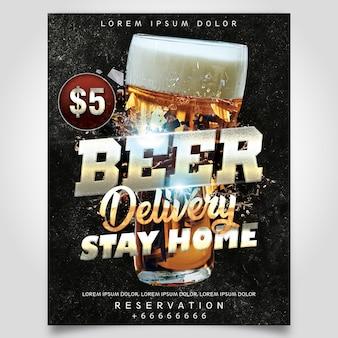 Entrega de cerveja modelo de panfleto
