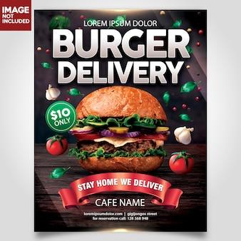 Entrega de hamburguery modelo de panfleto