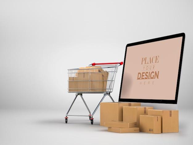 Entrega online com modelo de maquete de computador com pacote de entrega