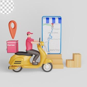 Entrega rápida por scooter no celular