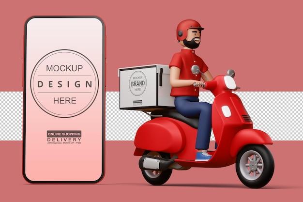 Entregador andando de moto com caixa de entrega e um grande telefone em renderização 3d