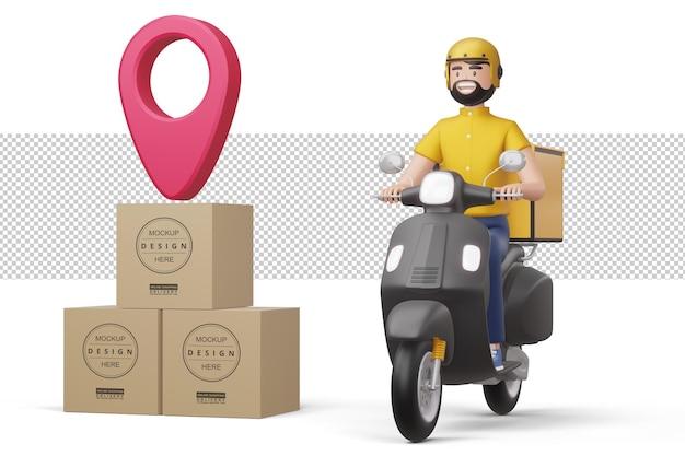 Entregador andando de motocicleta com caixa de embalagem em renderização 3d