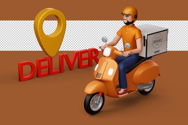 Entregador andando de motocicleta com caixa de entrega em renderização 3d