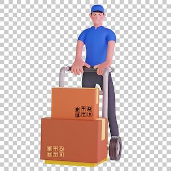 Entregador com carrinho de pacote ilustração 3d