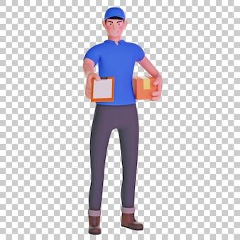 Entregador dando ilustração 3d para a prancheta