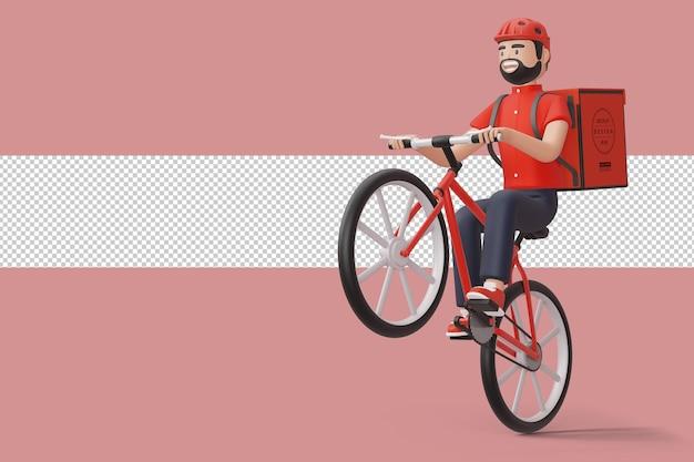 Entregador de bicicletas de correio com caixa de pacote nas costas em renderização 3d