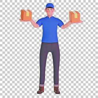 Entregador de correio transportando pacote ilustração 3d
